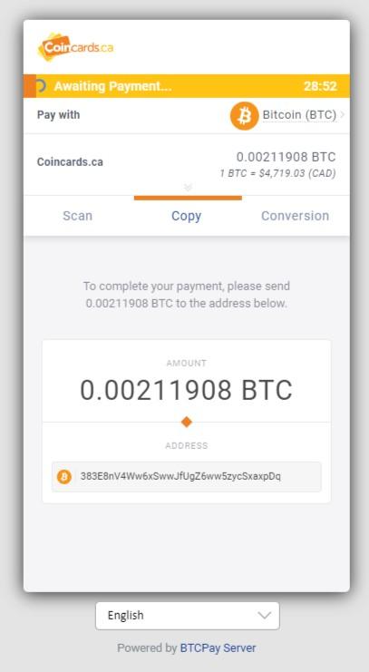 XMR BTCPay Copy Details